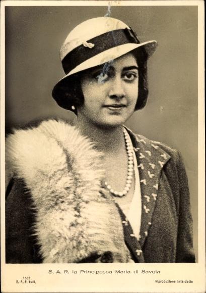 Ak SAR la Principessa Maria di Savoia, Marie José von Belgien, Königin von Italien