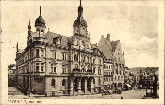 Ak Pforzheim im Schwarzwald Baden Württemberg, Blick auf das Rathaus, Pferdekutsche