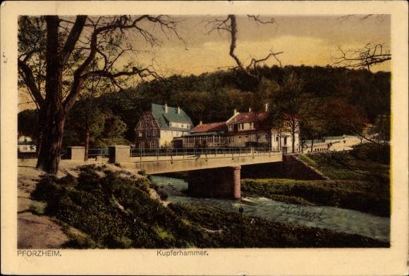 Ak Pforzheim im Schwarzwald Baden Württemberg, Blick auf den Kupferhammer, Brücke
