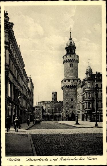 Ak Görlitz in der Lausitz, Blick auf den Kaisertrutz, Reichenbacher Turm