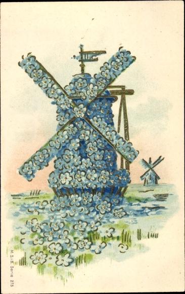 Präge Ak Ansicht einer Windmühle, Vergissmeinnicht