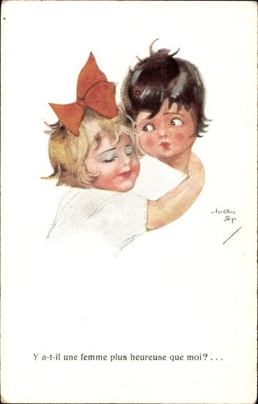 Künstler Ak Spark, Chicky, Zwei Kinder, Liebespaar, Rote Haarschleife