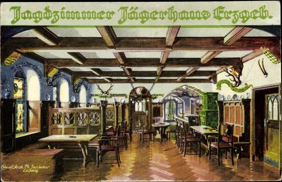Künstler Ak Jantocher, Arch. Ph., Breitenbrunn im Erzgebirge, Jagdzimmer im Jägerhaus