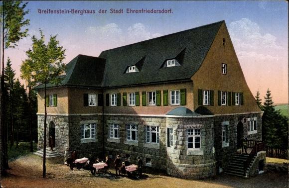 Ak Ehrenfriedersdorf im Erzgebirge, Greifenstein Berghaus, Terrassenpartie