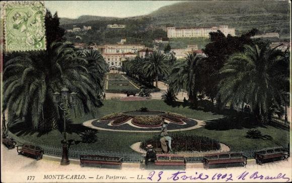 Ak Monte Carlo Monaco, Les Parterres, Parkanlagen, Gärtner bei der Arbeit, LL.
