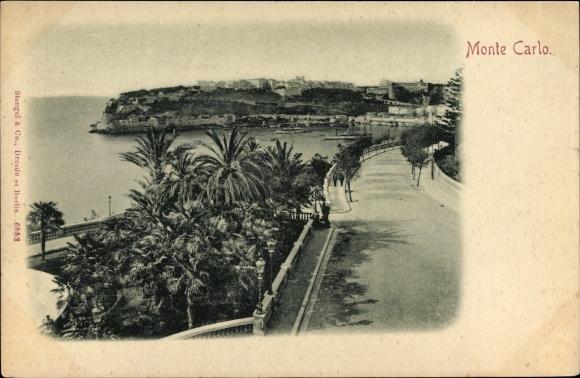 Ak Monte Carlo Monaco, Küstenpartie und Uferstraße, Palmen