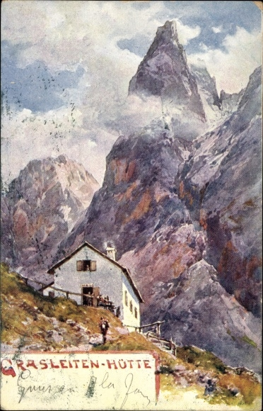 Künstler Ak Compton, Südtirol, Grasleitenhütte, Naturpark Schlern Rosengarten