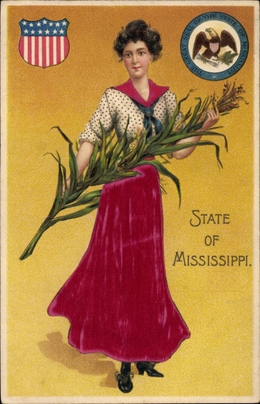 Präge Stoff Ak Mississippi USA, The Great Seal of the State, Lady holding Maize, Frau, Mais
