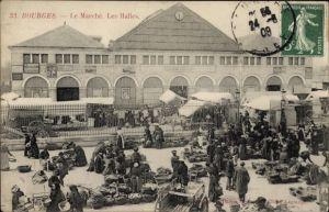 Ak Bourges Cher, Le Marché, Les Halles, Marktleben