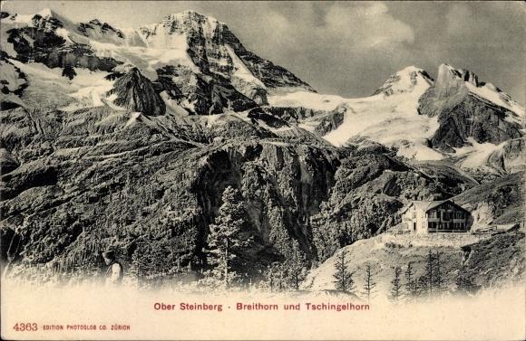 Ak Stechelberg Kt. Bern Schweiz, Blick auf Hotel Obersteinberg mit Breithorn und Tschingelkhorn