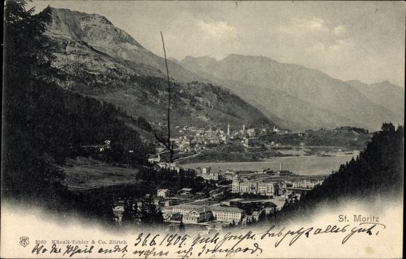 Ak St. Moritz Kt. Graubünden Schweiz, Blick auf die Stadt, Vue sur la ville