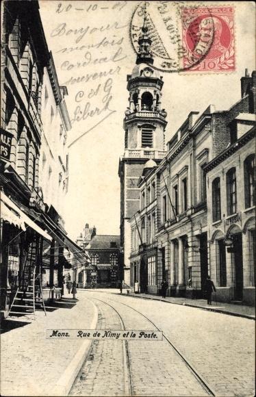 Ak Mons Wallonien Hennegau, Vue sur la Rue de Nimy et la Poste, Straßenpartie mit Postamt