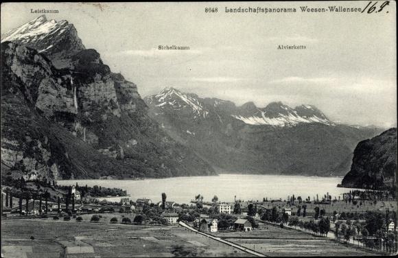 Ak Weesen Kt. St. Gallen Schweiz, Blick auf Ortschaft, Leistkamm, Sichelkamm und Alvierkette