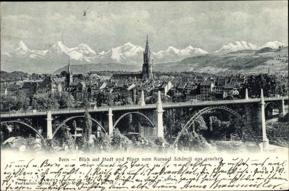 Ak Bern Stadt Schweiz, Blick auf die Stadt und Alpen vom Kursaal Schänzli aus gesehen