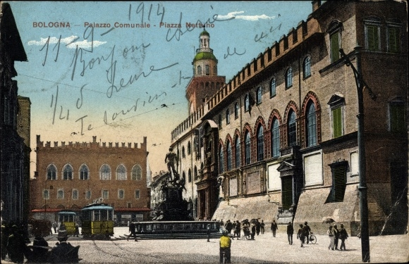 Ak Bologna Emilia Romagna, Palazzo Comunale, Piazza Nettuno, Tram, Straßenbahn Linie 10