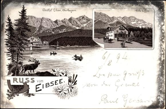 Vorläufer Litho Grainau im Kreis Garmisch Partenkirchen, Gasthof Eibsee, Villa Eibsee