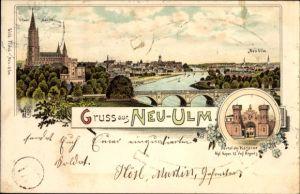 Litho Neu-Ulm in Schwaben, Ulmer Münster, Portal der Kaserne d. Kgl. Bayr. 12. Infanterie Regiment