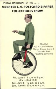 Ak Los Angeles Postcard & Paper Collectibles Show, Elks Hall, Unicycle, Einrad