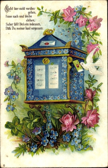 Präge Ak Briefkasten, Taube mit Brief im Schnabel, Blumen
