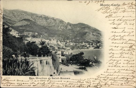 Ak Monte Carlo Monaco, Bas Moulins et Saint Roman, Küstenpartie, Panorama