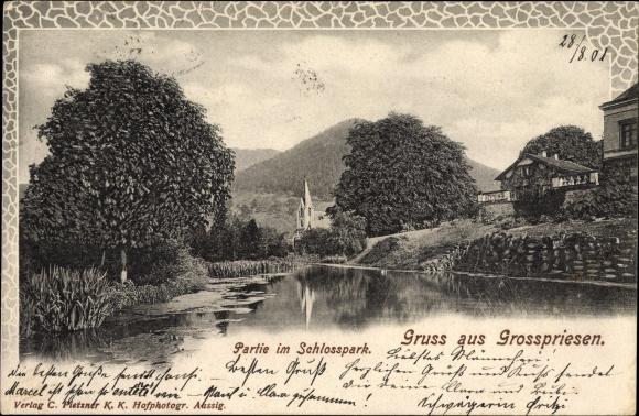 Ak Velké Březno Großpriesen Region Aussig, Partie im Schlosspark
