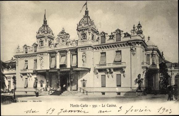 Ak Monte Carlo Monaco, Vue sur le Casino, Vorderansicht vom Casino
