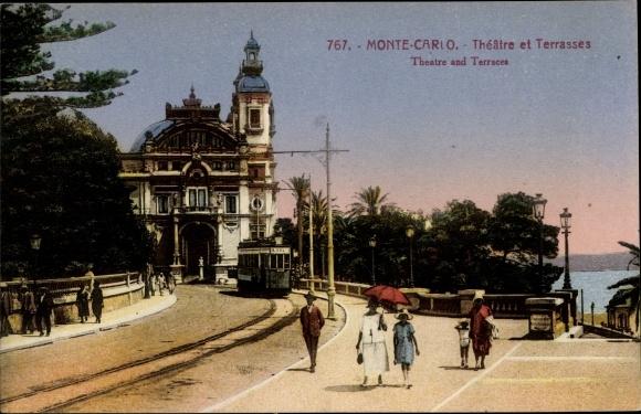 Ak Monte Carlo Monaco, Vue sur le Theatre et Terrasses