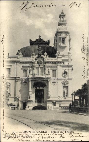 Ak Monte Carlo Monaco, Vue sur l'Entree du Theatre, Blick auf den Theatereingang