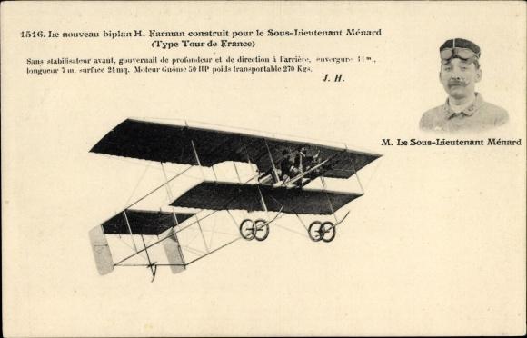 Ak Biplan H. Farman construit pour le Sous Lieutenant Ménard, Type Tour de France, Flugpionier