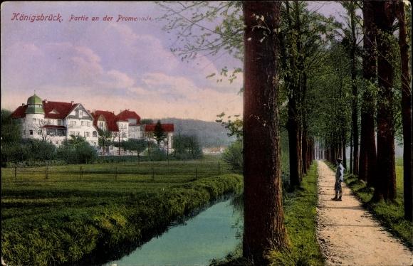 Ak Königsbrück in der Oberlausitz, Partie an der Promenade