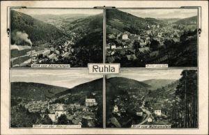Passepartout Ak Ruhla in Westthüringen, Ausblicke vom Emmytempel, Mühlrainstein und Knaudtstraße