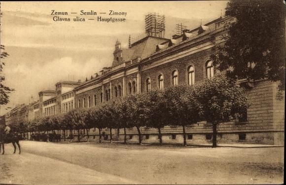 Ak Zemun Semlin Belgrad Beograd Serbien, Blick in die Hauptgasse