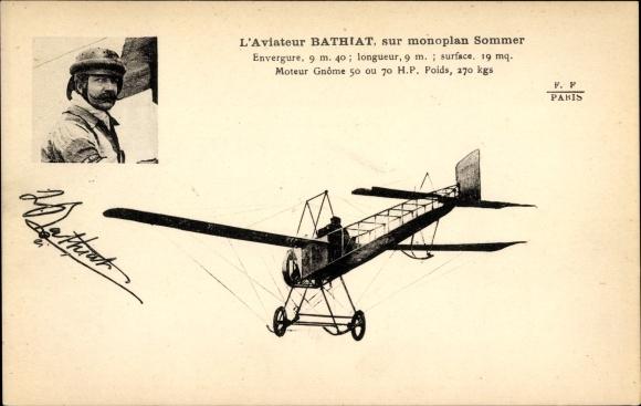 Ak L'Aviateur Bathiat, sur monoplan Sommer, Flugzeug, Pilot, Flugpionier