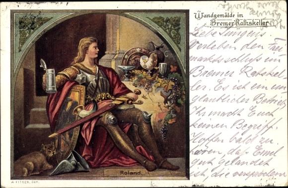 Künstler Ak Hansestadt Bremen, Wandgemälde im Bremer Ratskeller, Roland
