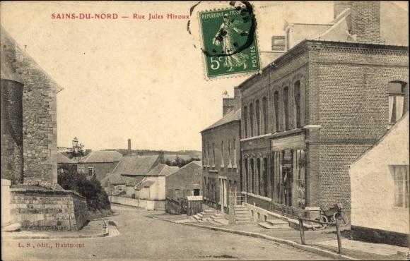Ak Sains du Nord, Rue Jules Hiroux, Straßenpartie im Ort