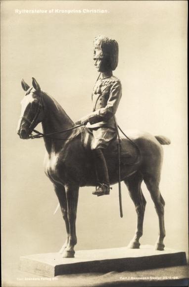 Ak Dänemark, Rytterstatue af Kronprins Christian, Reiterstatue von König Christian IX