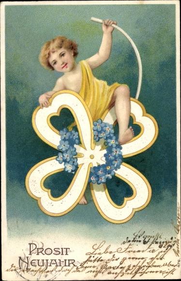 Präge Litho Glückwunsch Neujahr, Kind auf einem Kleeblatt, Vergissmeinnichtblüten