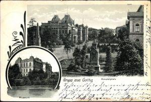 Ak Gotha im Thüringer Becken, Arnoldiplatz mit Denkmal, Museum