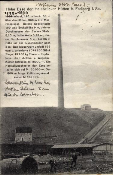 Ak Halsbrücke in Sachsen, Hohe Esse der Halsbrücker Hütten, Schornstein