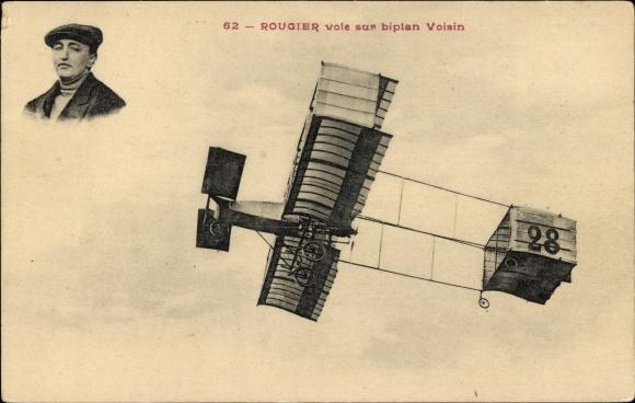 Ak Rougier vole sur biplan Voisin, Flugzeug, Pilot, Flugpionier