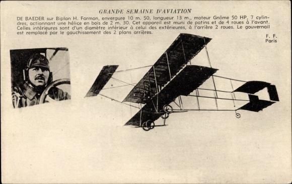Ak Grande Semaine d'Aviation, De Baeder, Biplan H. Farman, Flugzeug, Pilot, Flugpionier