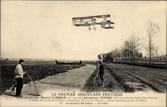 Ak Le Premier Aéroplane Pratique, Henry Farman, Aéroplane Voisin, Flugzeug, Pilot, Flugpionier