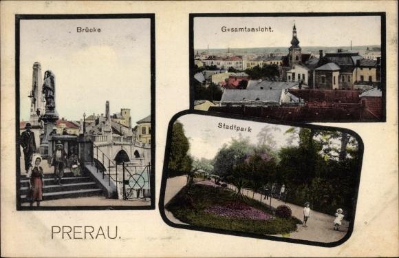 Ak Přerov Prerau Reg. Olmütz, Brücke, Gesamtansicht, Stadtpark