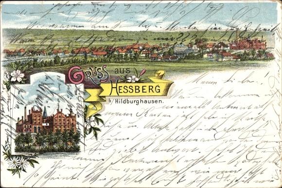 Litho Heßberg Veilsdorf in Thüringen, Totalansicht vom Ort, Brauerei