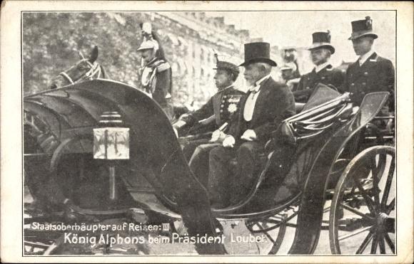 Ak Staatsoberhäupter auf Reisen, König Alfons XIII von Spanien beim Präsident Loubet