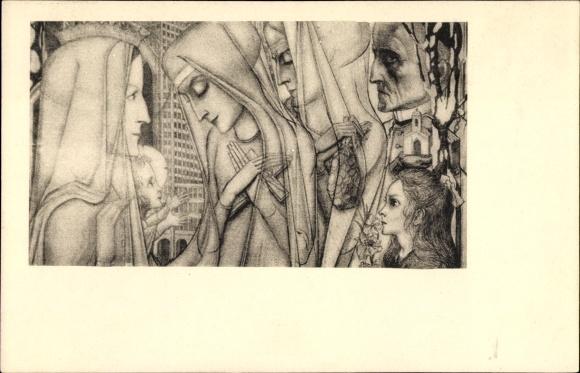 Künstler Ak Toorop, Jan Th., Fragment uit 't offer no. 1, Detail eines Gemäldes