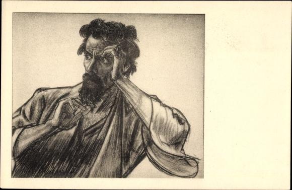 Künstler Ak Toorop, Jan Th., Apostel, Bleistiftzeichnung von einem bärtigen Mann