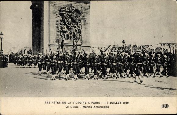 Ak Paris, Les Fetes de la Victoire, 14 Juillet 1919, le Défilé, Marins Américains