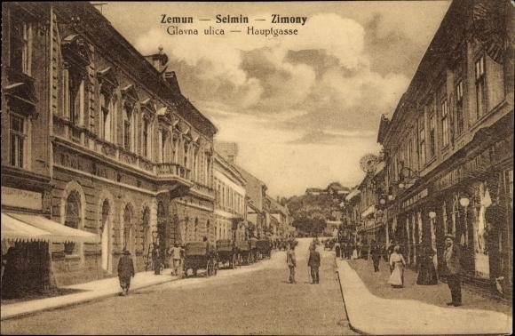 Ak Zemun Semlin Belgrad Beograd Serbien, Glavna ulica, Blick in die Hauptgasse