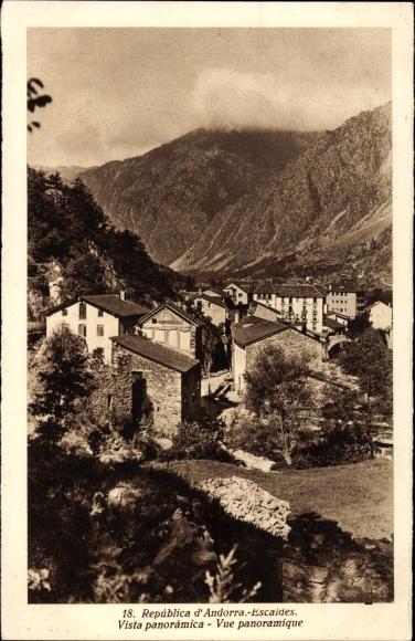 Ak Escaldes Engordany Andorra, Vue panoramique, Ortschaft mit Landschaftsblick